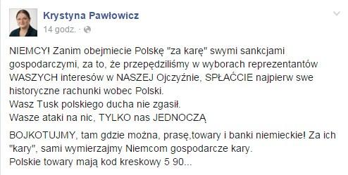Facebook Krystyny Pawłowicz /facebook.com