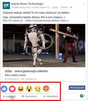 """""""Facebookowe Reakcje"""" - serwis Facebook wdraża rozszerzenie przycisku """"Lubię to"""""""