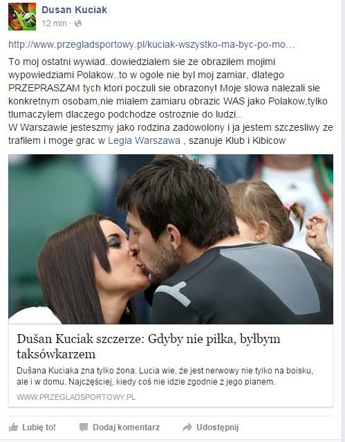 Facebookowy profil Duszana Kuciaka /Facebook /Internet