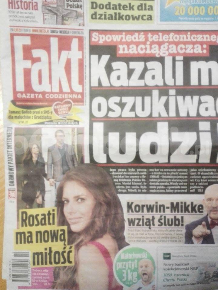 """""""Fakt"""" opublikował zdjęcia Rosati z nowym partnerem /Fakt"""