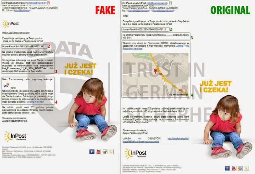 Fałszywa i oryginalna wiadomości o odbiorze paczki. /materiały prasowe