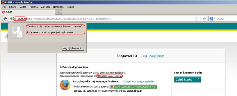 Fałszywa strona banku BGŻ, na którą przekierowywani są klienci przez złośliwe serwery DNS. /materiały prasowe