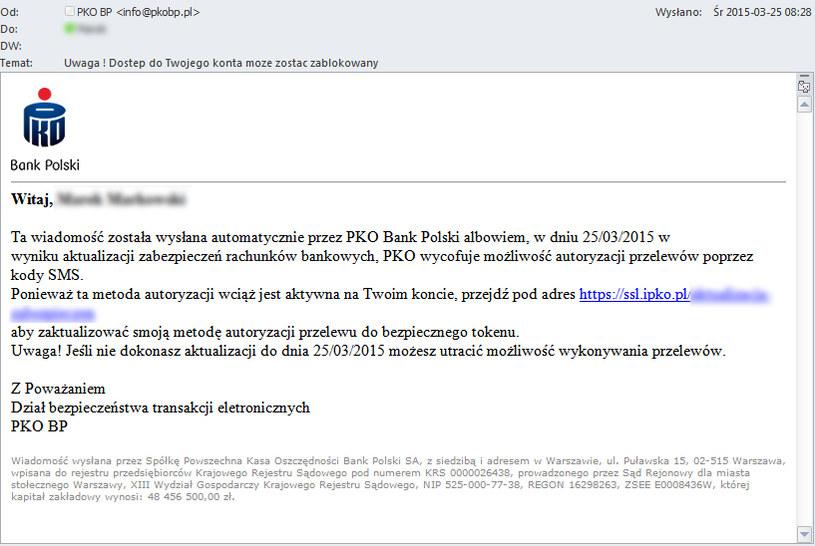 Fałszywa wiadomość wysyłana do klientów PKO BP. /materiały prasowe