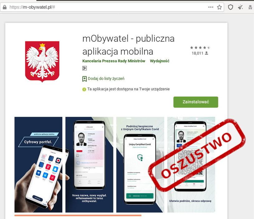Fałszywa witryna podszywająca się pod podstronę sklepu Google Play z aplikacją mObywatel. Fot. CERT Polska /materiały prasowe