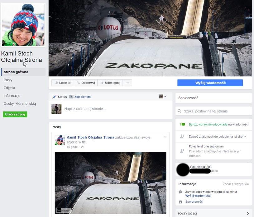 Fałszywe konto Kamila Stocha /Print Screen/Facebook /