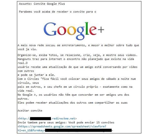 Fałszywe zaproszenie do portalu Google + /materiały prasowe