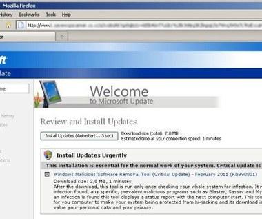 Fałszywy antywirus udaje aktualizację Microsoftu