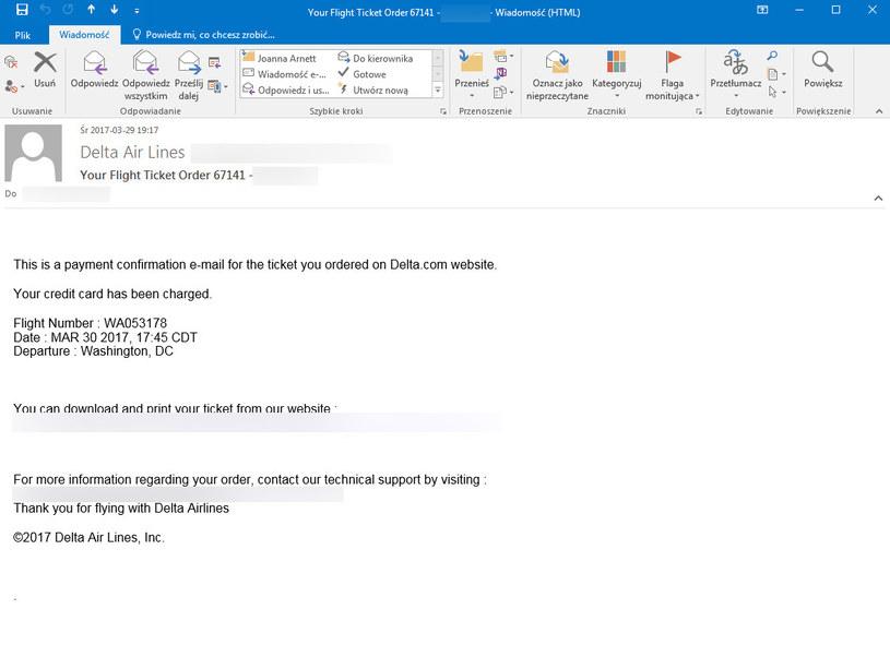 Fałszywy mail mający pochodzić od Delta Air Lines /materiały prasowe