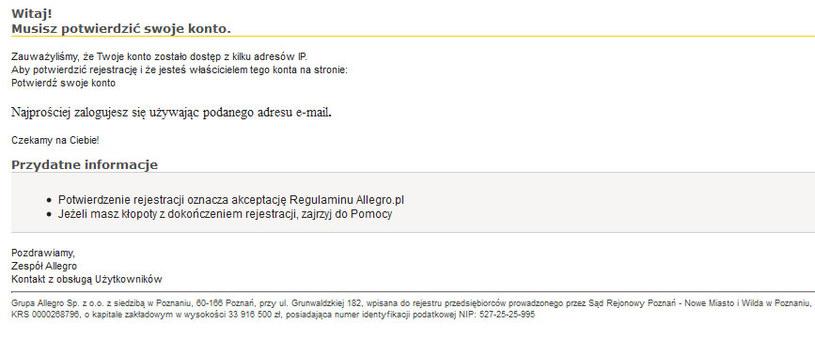 Fałszywy mail podszywający się pod wiadomość od Allegro /materiały prasowe