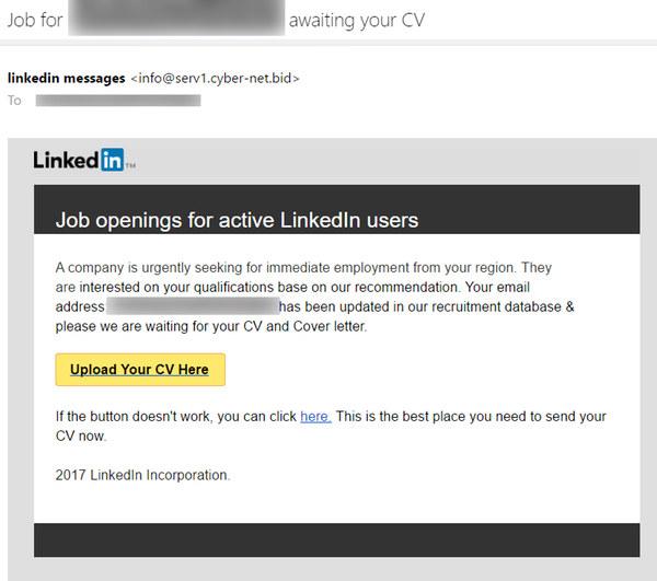 Fałszywy mail podszywający się pod wiadomość z LinkedIn /materiał zewnętrzny