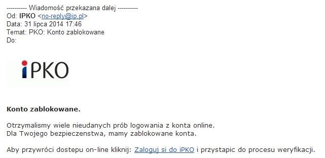 Fałszywy mail udający wiadomość z banku PKO /materiały prasowe