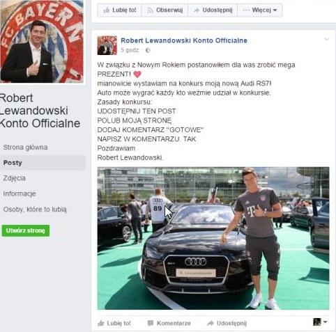 Fałszywy profil Roberta Lewandowskiego już został zawieszony /Fot. Facebook /