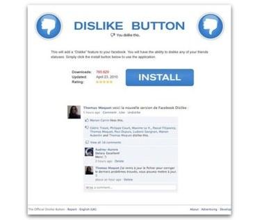 """Fałszywy przycisk """"Nie lubię tego"""" na Facebooku"""