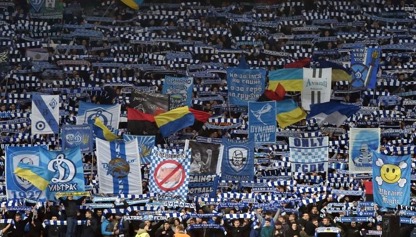 Fani Dynama Kijów podczas meczu z Evertonem /AFP