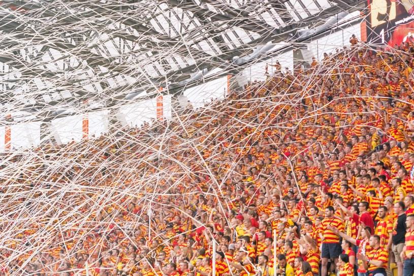 Fani Jagiellonii na stadionie w Białymstoku /Paweł Polecki /Reporter