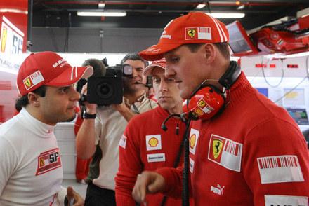 Felipe Massa i Michael Schumacher na torze Hungaroring /