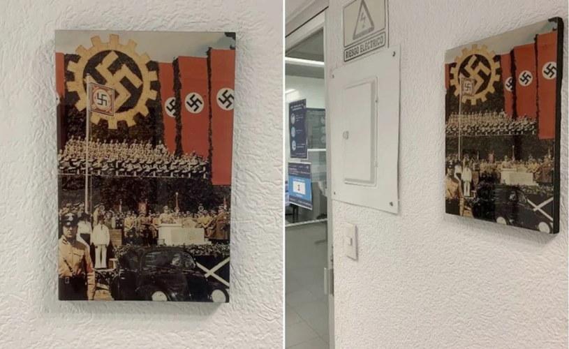 Feralne zdjęcie wisiało w biurze. Dokumentuje przemówienie Hitlera z okazji rozpoczęcia produkcji modelu, który stał się słynnym Garbusem /