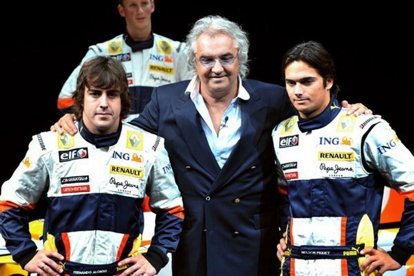 Fernando Alonso, Flavio Briatore i Nelson Piquet jr /AFP