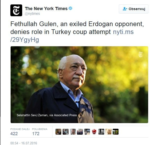 Fethullah Gulen, fot. New York Times /