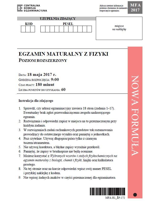 Fizyka poziom rozszerzony; matura 2017 /