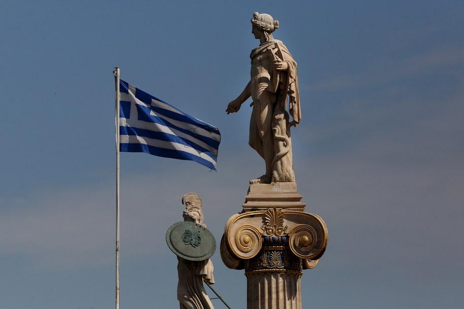 Flaga Grecji /ORESTIS PANAGIOTOU /PAP/EPA