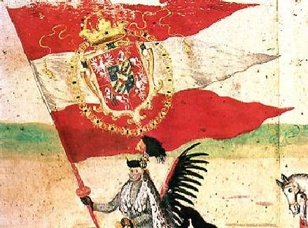Flaga Rzeczpospolitej Obojga Narodów z herbem z orłem, pogonią i herbem Wazów w sercu tarczy /Archiwum