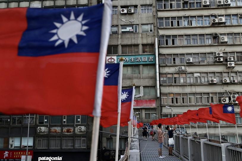 Flagi Tajwanu przed obchodami Dnia Narodowego w Tajpej /PAP/EPA/RITCHIE B. TONGO /PAP