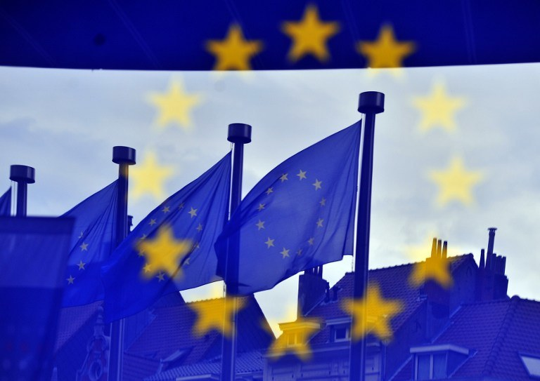Flagi Unii Europejskiej; zdj. ilustracyjne /GEORGES GOBET / AFP /AFP