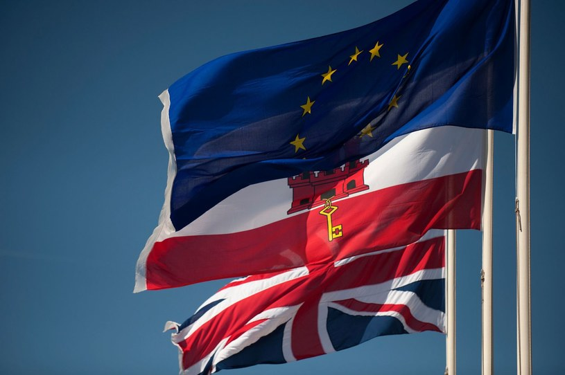 Flagi Wielkiej Brytanii, Gibraltaru i Unii Europejskiej /AFP