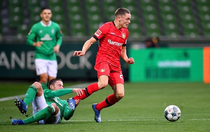 Florian Wirtz (w czerwonej koszulce) podczas debiutu przeciwko Werderowi Brema /AFP