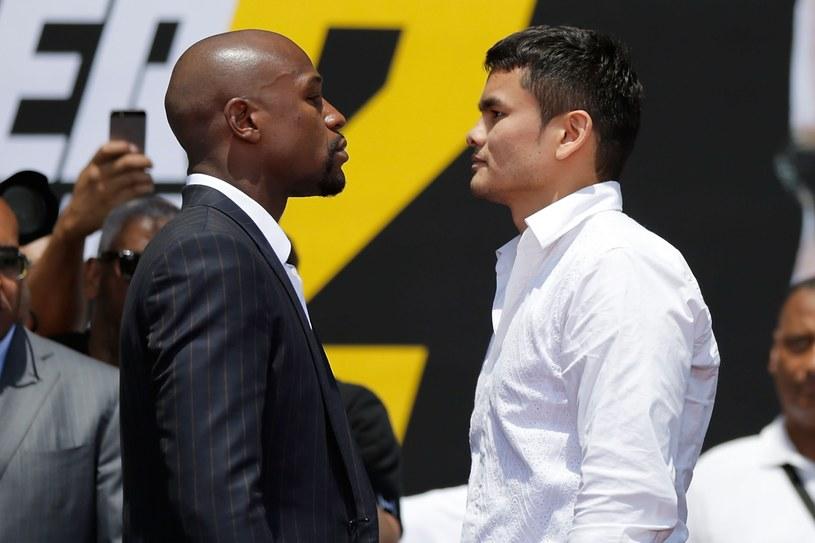 Floyd Mayweather Jr i Marcos Maidana twarzą w twarz /AFP