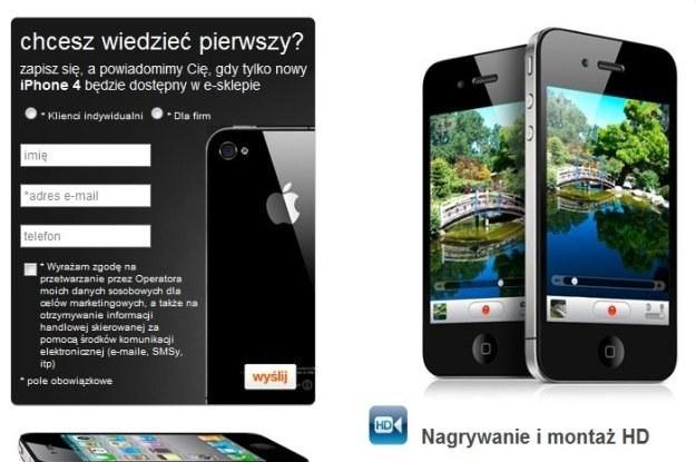 Formularz, dzięki któremu możemy zapisać się w kolejce oczekujących na iPhone 4 /materiały prasowe