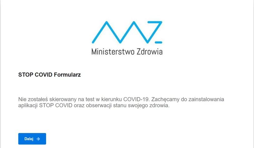 Formularz STOP COVID /Archiwum prywatne /archiwum prywatne