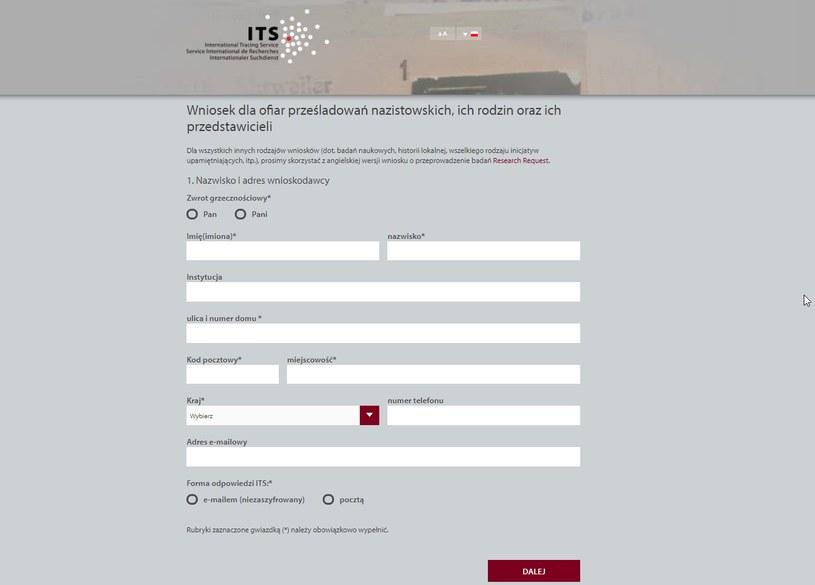 Formularz zgłoszeniowy na stronie internetowej Międzynarodowego Biura Poszukiwań /its-arolsen.org /&nbsp