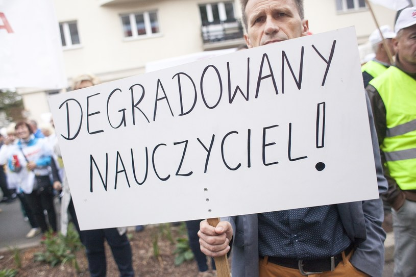 Fot. z protestu nauczycieli przed MEN, wrzesień 2018 /Maciej Łuczniewski /Reporter
