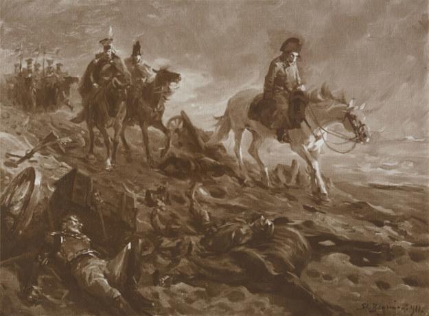 Fotografia obrazu Stanisława Bagieńskiego z 1911 r. przedstawiającego Napoleona na polu bitwy /Polona /domena publiczna