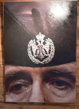 Fotomontaż Andriej Budajewa wystawiany w kusturicowskim Drvengradzie - załzawione oczy Karadzicia /INTERIA.PL