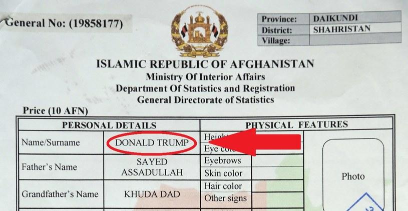 Fragment aktu urodzenia afgańskiego Donalda Trumpa /AP/EAST NEWS /East News