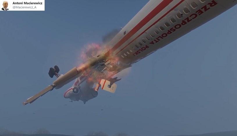 Fragment filmu zamieszczonego przez Antoniego Macierewicza - wybuch na pokładzie prezydenckiego samolotu /