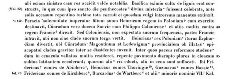 Fragment kroniki św. Piotra, opisujący katastrofę w Erfurcie /domena publiczna