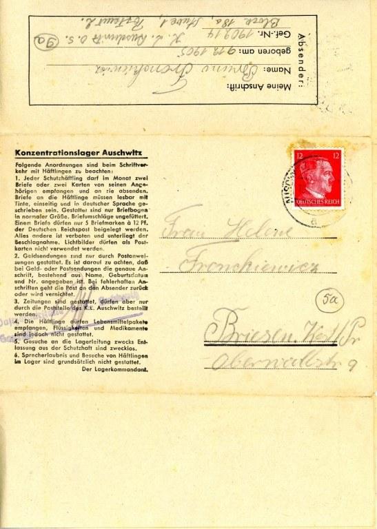 Fragment listu obozowego wysłanego z KL Auschwitz przez więźnia Brunona Fronckiewicza /materiały prasowe
