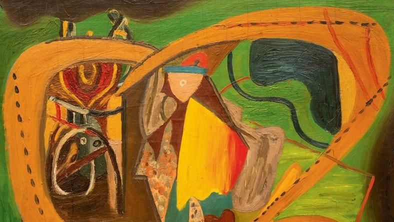 """Fragment obrazu """"Pożegnanie żołnierza"""", prezentowanego na wystawie """"Marek Włodarski / Henryk Streng. Libra Dom Aukcyjny /PAP"""
