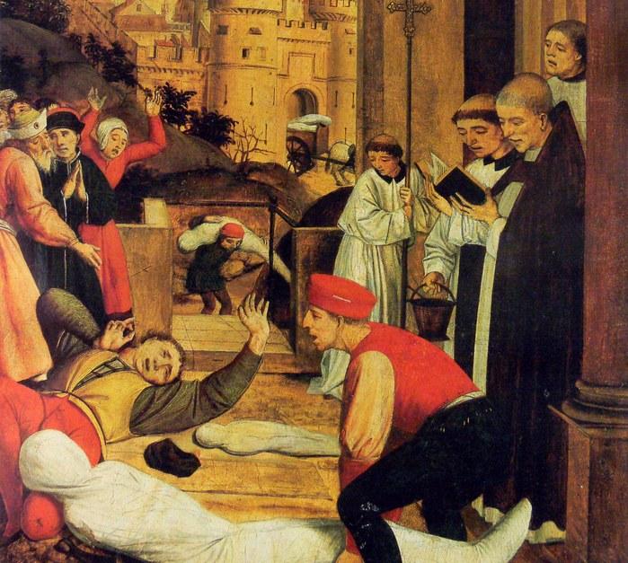 """Fragment obrazu: """"Święty Sebastian wstawia się za Zarazy Dotkniętych"""", Josse Lieferinxe , 1497-1499 /Wikipedia"""