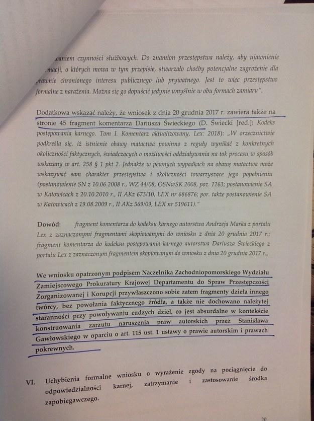 Fragment odpowiedzi posła Gawłowskiego, wskazujący na plagiat w piśmie prokuratury. /RMF FM