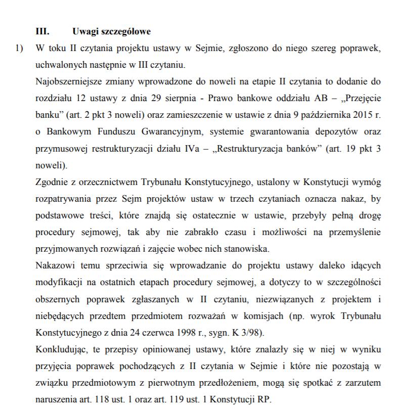 Fragment opinii Biura Legislacyjnego Senatu z 16.11 /Zrzut ekranu /