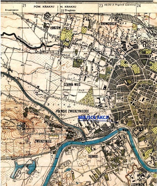Fragment oryginalnej mapy Krakowa z zaznaczonym miejscem akcji /ze zbiorów autora /