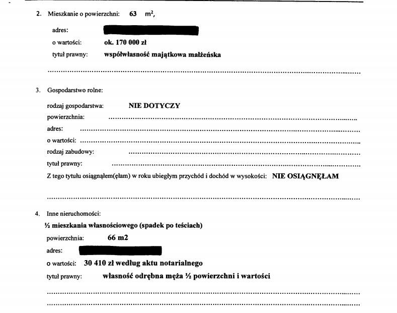 Fragment oświadczenia majątkowego Elżbiety Witek /