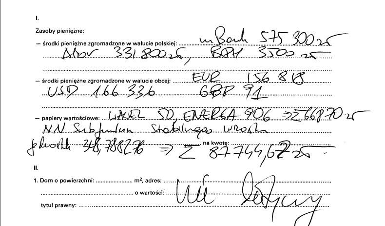 Fragment oświadczenia majątkowego Ryszarda Petru (www.sejm.gov.pl) /INTERIA.PL