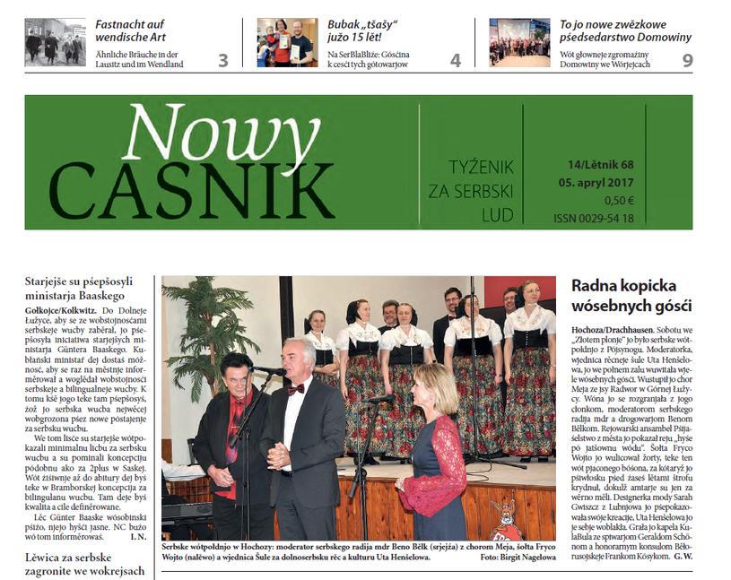"""Fragment pierwszej strony gazety """"Nowy Casnik"""" /Interia.pl /"""