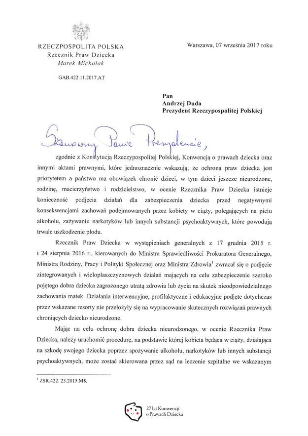 Fragment pisma Rzecznika Praw Dziecka do prezydenta Andrzeja Dudy /RMF FM